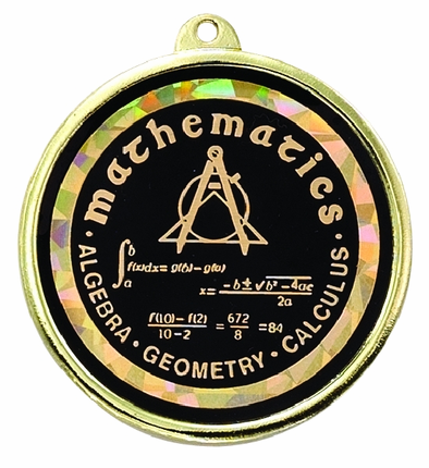 "2-1/4 Inch Medal Frame with 2 Inch ""Mathematics"" Mylar Insert Label"