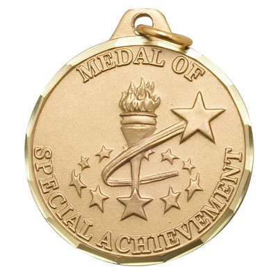 "1-1/4 Inch Diamond Cut Border ""Medal of Special Achievement"" with Torch and Stars Medal"