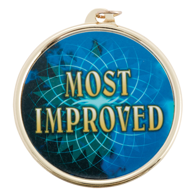 "2-1/4 Inch Medal Frame with 2 Inch ""Most Improved"" with Star Mylar Insert Label"