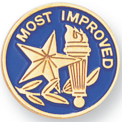 """3/4 Gold """"Most Improved"""" Stars, Torch, and Wreath Enameled Lapel Pin"""