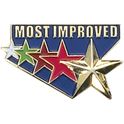 """1 Inch Gold """"Most Improved"""" with 5 Multi-Color Stars Enameled Lapel Pin"""