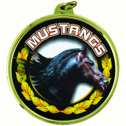 "2-1/4 Inch Medal Frame with 2 Inch ""Mustangs"" Mascot Mylar Insert Label"