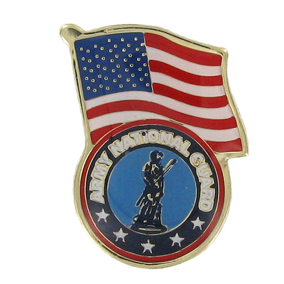 1-1/8 Inch National Guard Minuteman with American Flag Enameled Lapel Pin