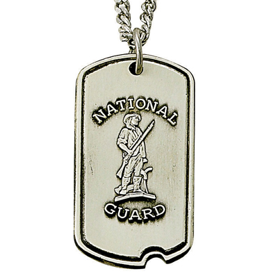 11/16 Inch Sterling Silver National Guard Dog Tag with Cross