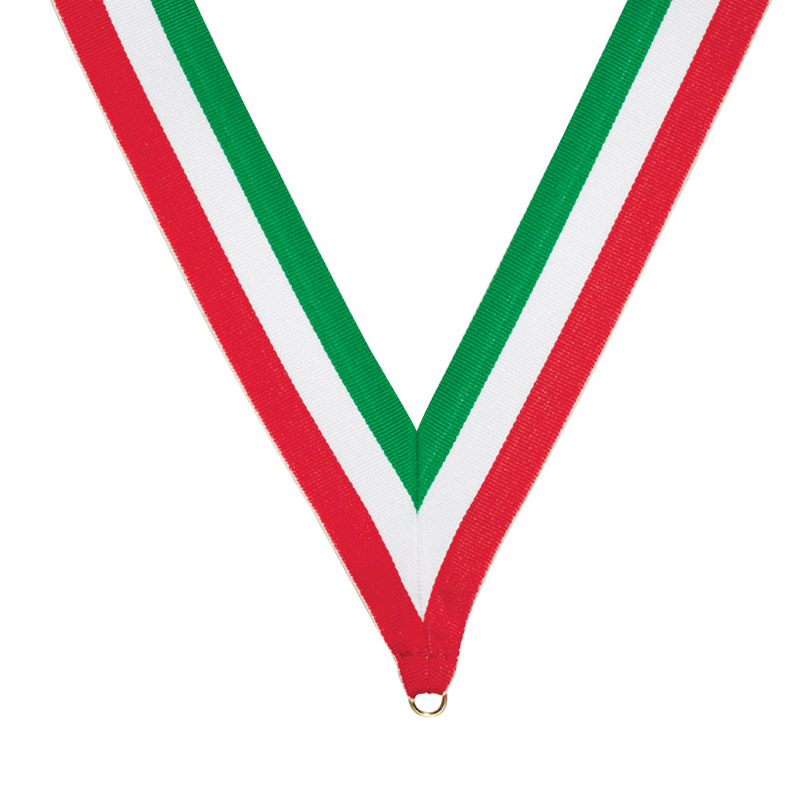 32 x 1-3/8 Inch Green, White, and Red Neck Ribbon