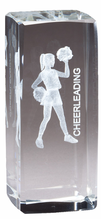 4-1/2 Inch Square Optical Crystal Female Cheerleader Figure Award