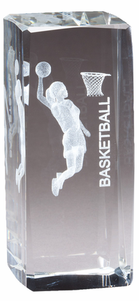 4-1/2 Inch Squared Optical Crystal Female Basketball Player Award