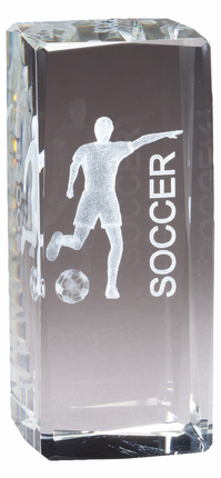 4-1/2 Inch Squared Optical Crystal Female Soccer Player Award