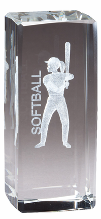 4-1/2 Inch Squared Optical Crystal Female Softball Player Award