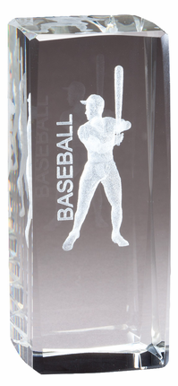 4-1/2 Inch Square Optical Crystal Male Baseball Player Award