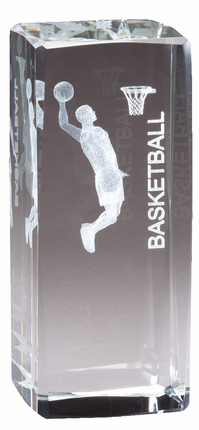 4-1/2 Inch Squared Optical Crystal Male Basketball Player Award