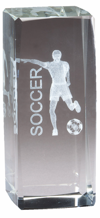 4-1/2 Inch Squared Optical Crystal Male Soccer Player Award
