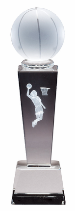 8-3/4 Inch Column Optical Crystal Basketball and Female Player Award