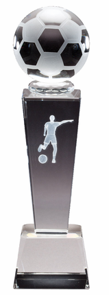 8-3/4 Inch Column Optical Crystal Soccerball and Female Player Award
