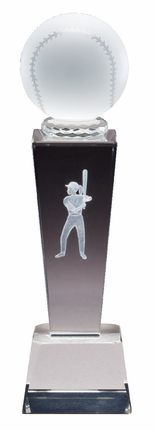 8-3/4 Inch Column Optical Crystal Softball and Female Player Award