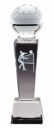 8-3/4 Inch Column Optical Crystal Volleyball and Female Player Award