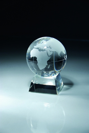 6 Inch Optical Crystal Globe on Base Award