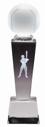 8-3/4 Inch Column Optical Crystal Baseball and Male Player Award
