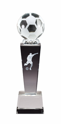 8-3/4 Inch Column Optical Crystal Soccerball and Male Player Award