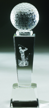 8-1/2 Inch Optical Crystal Golf Ball and Inner Golfer Image Trophy