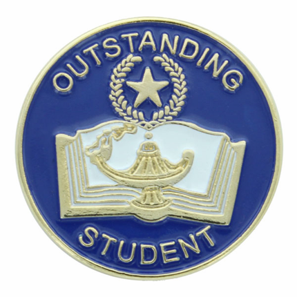 "7/8 Inch Gold ""Outstanding Student"" with Open Book, Lamp of Learning and Star Enameled Lapel Pin"