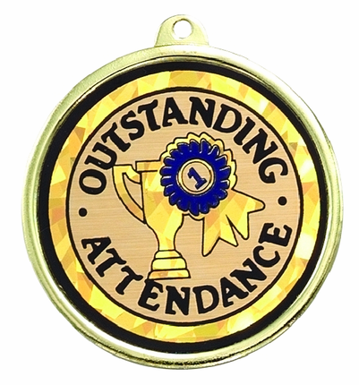 """2-1/4 Inch Medal Frame with 2 Inch """"Oustanding Attendance""""  with Tropy Ribbon Mylar Insert Label"""