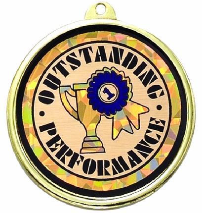 """2-1/4 Inch Medal Frame with 2 Inch """"Outstanding Performance"""" with Trophy Ribbon Mylar Insert Label"""