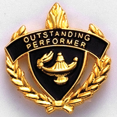 """1 Inch Gold """"Outstanding Performer"""" with Lamp of Learning and Wreaths Enameled Lapel Pin"""