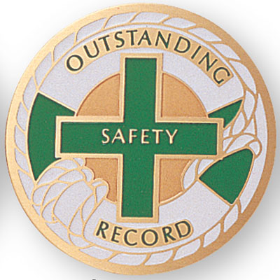 """2 Inch Etched Enameled  """"Outstanding Safety Record"""" Medallion Insert Disc"""