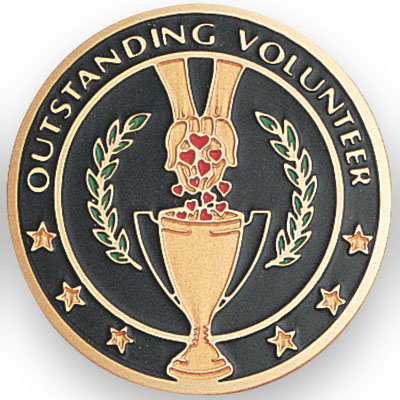 2 Inch Round Etched Enameled Colored Outstanding Volunteer Brass Metal Medallion Decal Disc-Peel and Stick Back