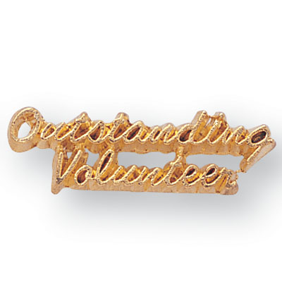 """Gold """"Outstanding Volunteer"""" Chenille Pin"""
