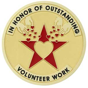 2 Inch Round Etched Enameled Colored In Honor of Outstanding Volunteer Work Brass Metal Medallion Decal Disc-Peel and Stick Back