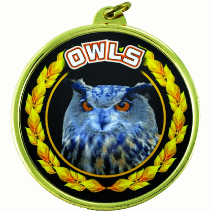 """2-1/4 Inch Medal Frame with 2 Inch """"Owls"""" Mascot Mylar Insert Label"""