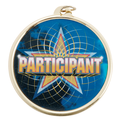 """2-1/4 Inch Medal Frame with 2 Inch """"Particpant"""" with Star Mylar Insert Label"""