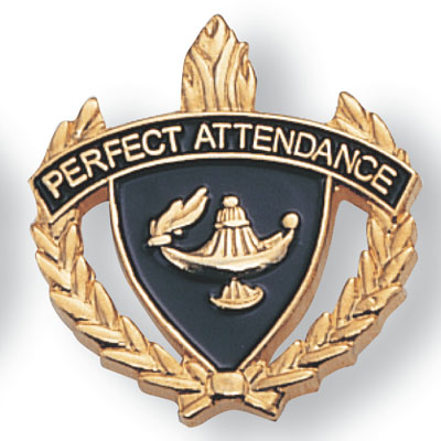 """1 Inch Gold """"Perfect Attendance"""" with Lamp of Learning and Wreaths Enameled Lapel Pin"""