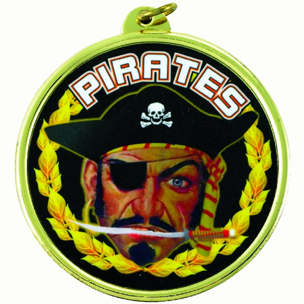"2-1/4 Inch Medal Frame with 2 Inch ""Pirates"" Mascot Mylar Insert Label"