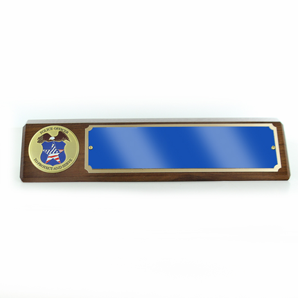 Police Officer Genuine Walnut Desk Block with Blue and Gold Aluminum Name Plate