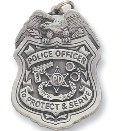 2 Inch Pewter Police Officer Key Chain