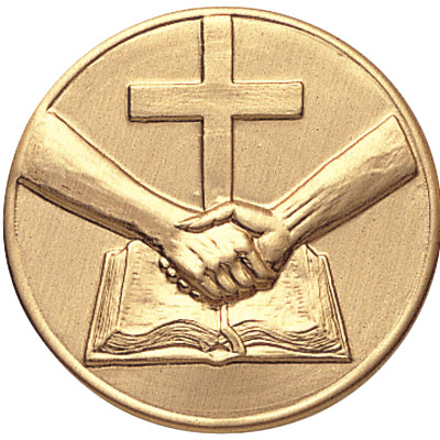 2 Inch Stamped Religious Handshake Recognition Medallion Insert Disc