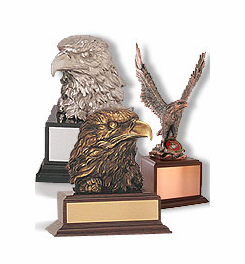 Resin Eagle Trophies, Painted and Electroplated