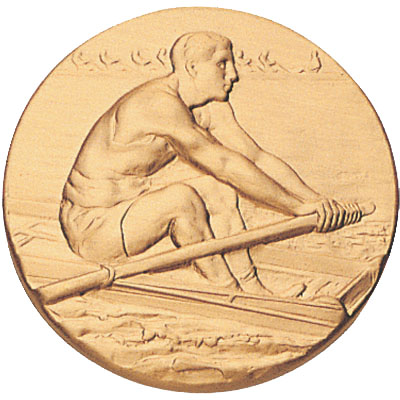 1 Inch Stamped Male Rower Rowing Medallion Insert Disc