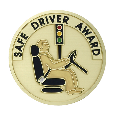 """2 Inch Etched Enameled  """"Safety Driver Award"""" Medallion Insert Disc"""