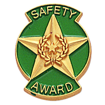 "3/4 Inch Gold ""Safety Award"" with Star Enameled Lapel Pin"