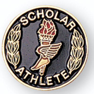 "3/4 Inch Gold ""Scholar Athlete"" with Torch, Winged Foot and Wreath Enameled Lapel Pin"