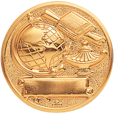 2 Inch Stamped Scholastic Achievement with Lamp, Globe, and Scroll  Medallion Insert Disc