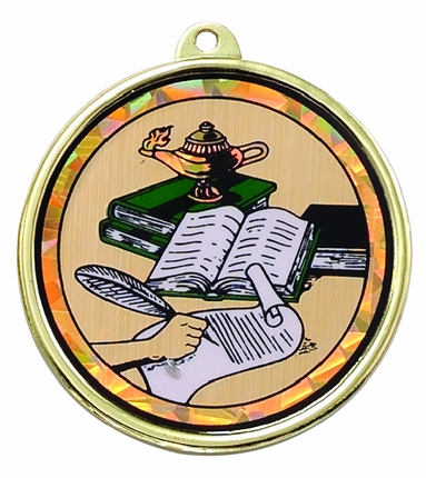2-1/4 Inch Medal Frame with 2 Inch Writing with Lamp of Learning w/ Books Mylar Insert Label
