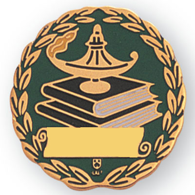 1 Inch Gold Lamp Of Learning Lamp On Books And Wreath Enameled Lapel Pin