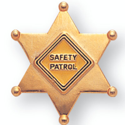 7/8 Gold Safety Patrol Badge Enameled Lapel Pin