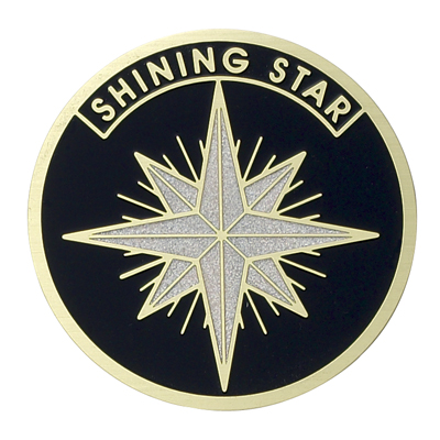 "2 Inch Etched Enameled  ""Shining Star"" Medallion Insert Disc"