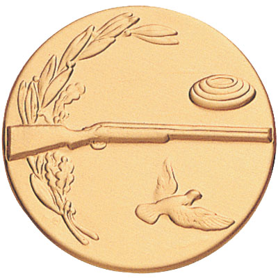1 Inch Stamped Skeet, Rifle, and Bird with Wreath Medallion Insert Disc